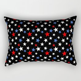 Bold Patriotic Stars In Red White and Blue on Black Rectangular Pillow