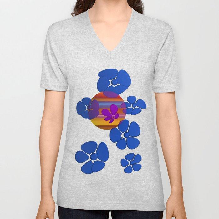 purple flower in pomp Unisex V-Neck