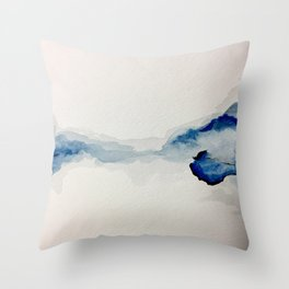 Abstract Blue Watercolor Throw Pillow