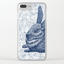Rabbit print, Vintage Rabbit, Animal Wall Art Clear iPhone Case