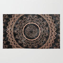 Mandala - rose gold and black marble Rug