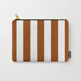 Iced tea brown - solid color - white vertical lines pattern Carry-All Pouch