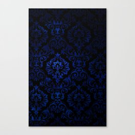 Doctor Who - Tardis Blue Damask Pattern Canvas Print