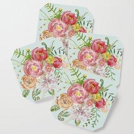Bouquet of Spring Flowers Light Aqua Coaster