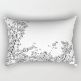 Cherry Blossoms (Black and White) Rectangular Pillow