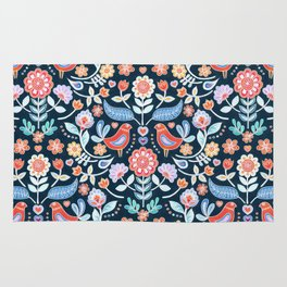 Happy Folk Summer Floral on Navy Rug