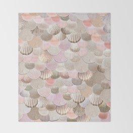 MERMAID SHELLS - CORAL ROSEGOLD Throw Blanket