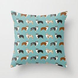 Australian Shepherd owners dog breed cute herding dogs aussie dogs animal pet portrait hearts Throw Pillow