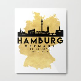 HAMBURG GERMANY SILHOUETTE SKYLINE MAP ART Metal Print