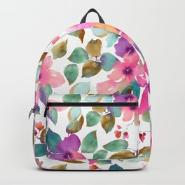 Pink and purplre florals. Watercolor flowers Backpack