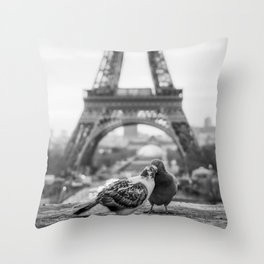 Love Birds (Black and White) Throw Pillow