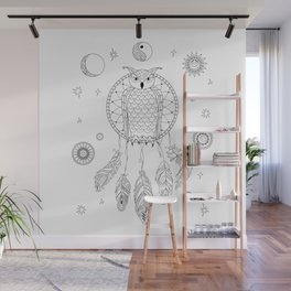dreamcatcher with owl, yin yang, moon and sun Wall Mural
