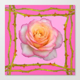 ROSE & RAMBLING THORNY CANES PINK BORDER PATTERNS Canvas Print