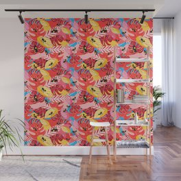 Beautiful illustration of a jungle with the frogs Wall Mural