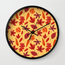 Red autumn leaves watercolor Wall Clock