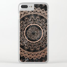 Mandala - rose gold and black marble Clear iPhone Case