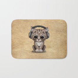 Cute Kitten Dj Wearing Headphones Bath Mat