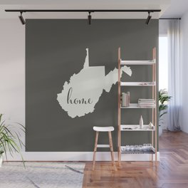 West Virginia is Home - White on Charcoal Wall Mural