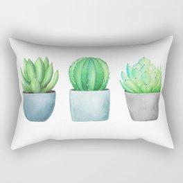 Succulent and Cacti Potted Garden Trio Rectangular Pillow