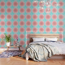 Romantic aqua and pink flower, digital abstracts Wallpaper