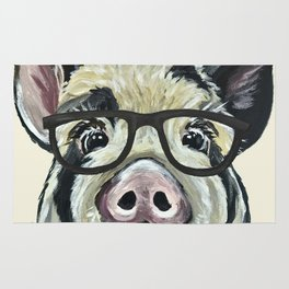 Pig with Glasses, Cute Farm Art Rug