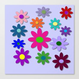 Flower Power - Light Purple Background - Fun Flowers - 60' Hippie Syle Canvas Print