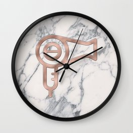 Rose Gold Blow Dryer on Marble Background - Salon Decor Wall Clock
