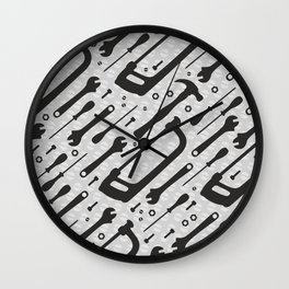 Tools Pattern Wall Clock
