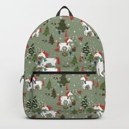Christmas Winter Unicorn Pattern Backpack