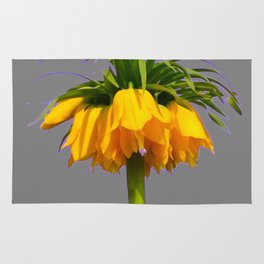 CONTEMPORARY GOLDEN YELLOW CROWN IMPERIAL FLOWERS Rug