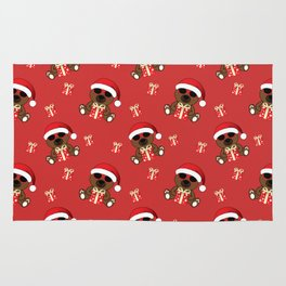 Cool Santa Bear with sunglasses and Christmas gifts pattern Rug