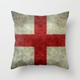 Flag of England (St. George's Cross) Vintage retro style Throw Pillow