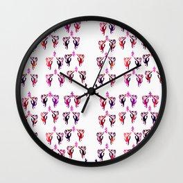 red purple cats Wall Clock