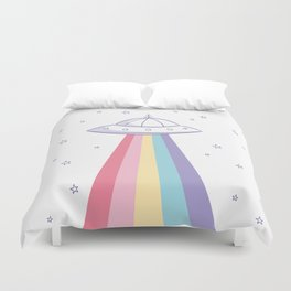 Colorful rainbow space ufo Duvet Cover