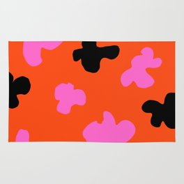 Grell 003 / A Dazzling 70's Pattern Of Black & Pink Spots Rug