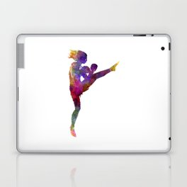 Woman boxer boxing kickboxing silhouette isolated 01 Laptop & iPad Skin