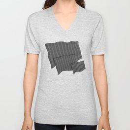 """Grey Vertical Lines Wool Texture"" Unisex V-Neck"