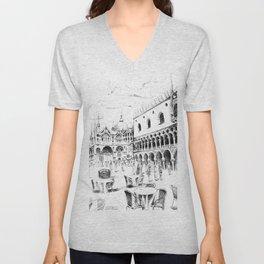 Sketch of San Marco Square in Venice Unisex V-Neck