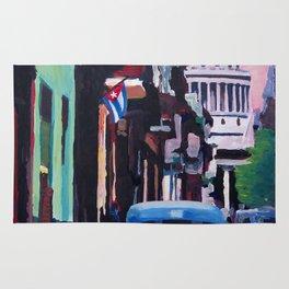Cuban Oldtimer Street Scene in Havanna Cuba with Buena Vista Feeling Rug