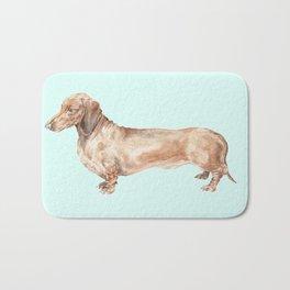A long dog: Dachshund doxie puppy dog watercolor pet portrait Bath Mat