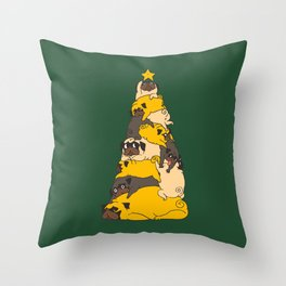 Christmas Tree Pugs Throw Pillow
