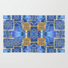 Geometric Blue and Gold Wealth Mandala Rug