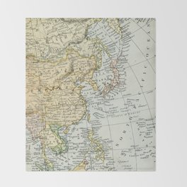 China, Russia, Japan Vintage Map Throw Blanket