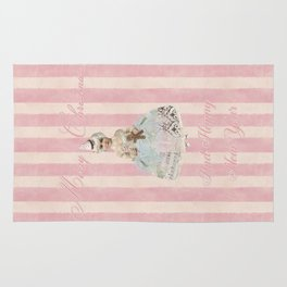 Vintage Nostalgic Christmas Fairy In Soft Pink Pastels Rug