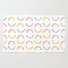 Pastel pink coral blue yellow abstract geometrical circles Rug