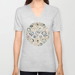 Art Deco Marble Tiles in Soft Pastels Unisex V-Neck