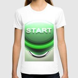 Green pushbutton to START - 3D rendering T-shirt