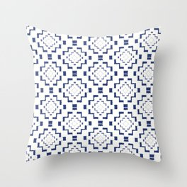 Rough Geometric Aztec Print - Navy Blue Throw Pillow