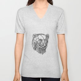 Brown Bear Head Doodle Unisex V-Neck
