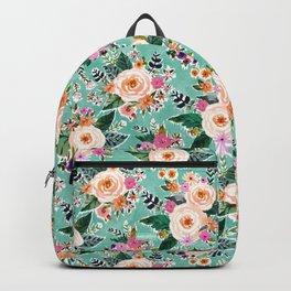 GOOD MOOD Aqua Watercolor Floral Backpack